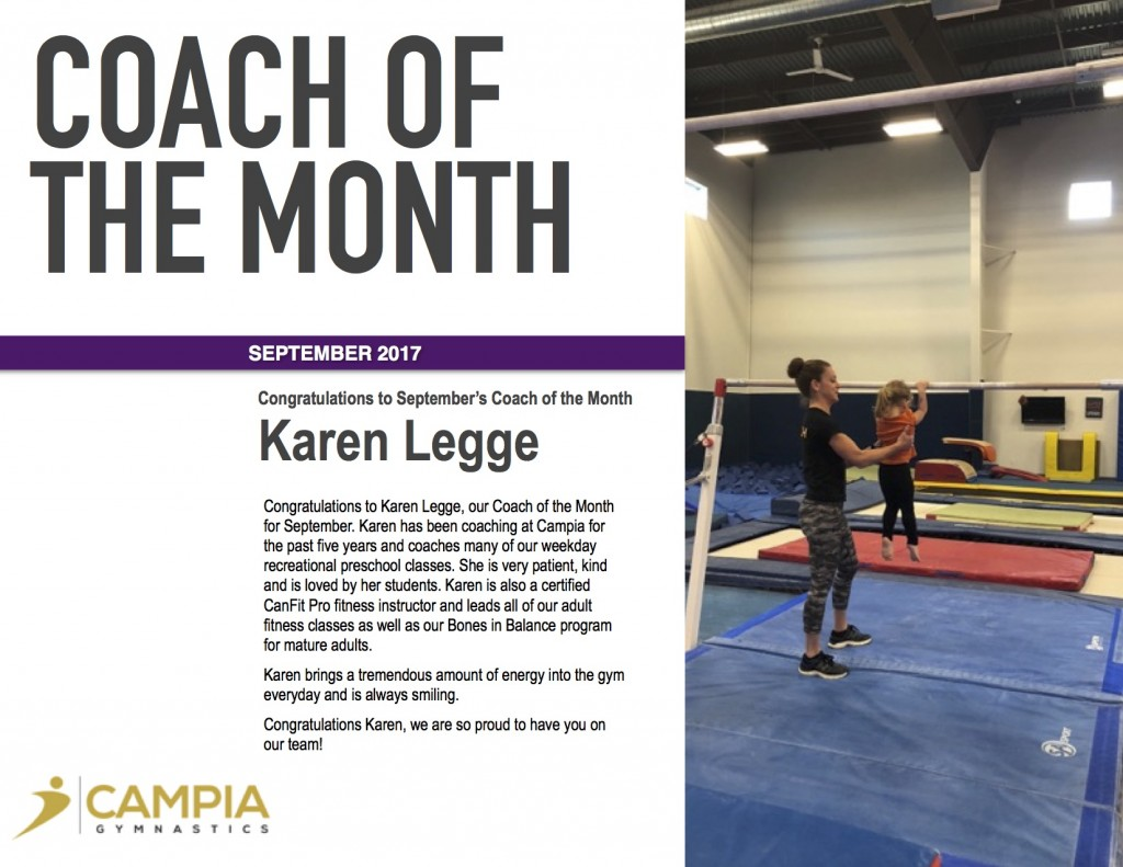 September 2017 Coach of the Month